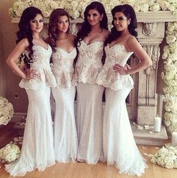 Exquisite White Lace Bridesmaid Dresses Pearls Sweetheart Lace-up Plus Size Evening Dresses With Peplum Mermaid Gowns Maids Bride Dresses LA