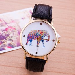 100pcs HOT 2015 women elephant design flower printing ladies leather PU wrist watch fashion dress quartz watches