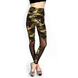 Wholesale Camouflage Cotton Pants Women - 2015 Wholesale Sexy High Waist Women Army Green Camouflage Print Stretchy Cotton Camo Fitness Leggings Tights Pants With Mesh WI51