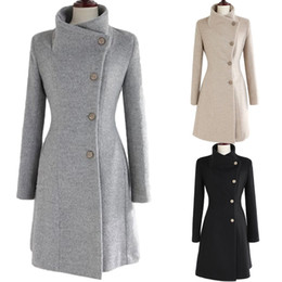 Wholesale Winter Overcoat Party Dress Button Long Sleeve Womens Outerwear Ladies Upright Collar Belted Coat Trench Jacket FREE SHIP