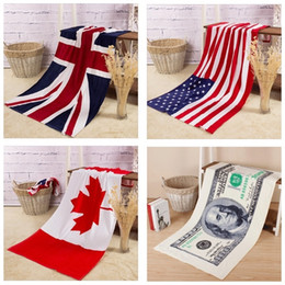 Wholesale PrettyBaby Beach Towels USA Flag Bath Towel United Kingdom Canada Flag Towels Children Gift For Kids cotton bath towel x140cm in stock