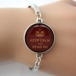 Wholesale Glass gem cham metal Bangle Letter I Love Reading Keep Calm and Read On Charm Bracelet Book Vintage noble Jewelry for women