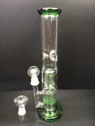 13 Inches two function Arm percolator and honey comb glass bong glass water pipe clear,blue,green color WRD-28