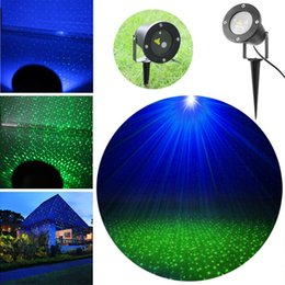 Wholesale 15W AC100 V Green Blue Laser Garden Lawn Light Waterproof IP67 Landscape Outdoor Lamp with Spike Aluminum Black