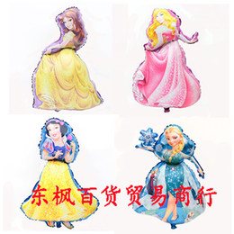 Wholesale Lovely Children s Birthday Party Decoration Princess Belle Elsa Ball Snow White Sleeping Beauty Kids Foil Balloon Nice Gift