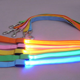 Wholesale-New LED Flashing Pet Leash Rope Belt Dog Harness Safety Lead Light dog collar