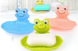 Wholesale Originality Colorful Frog Seamless super suction cup Bathroom Cartoon Soap Box Plate Holder Plastic Case color