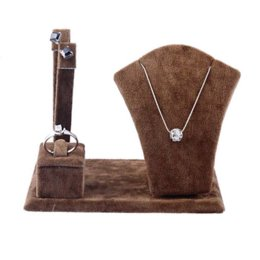 Fashion 1PC Coffee Multi-function Jewelry Necklace Ring Earrings Display Holder Stand Jewelry Display display product necklace belt