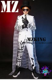 A male singer fashionable nightclub runway looks more white stretch cotton removable cape suit costumes. S - 6 xl