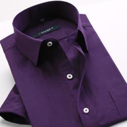 Wholesale- Men's shirt fashion boutique short sleeve large size shirt   Men's dress Casual purple pure color 3xl lapel shirt