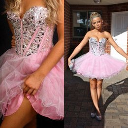 Lovely Pink Tulle Homecoming Dresses A Line Sweetheart Neckline Bling Bling Crystals Beads Custom Made Short Prom Gowns Plus Size