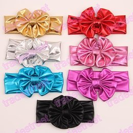 free shipping 50pcs Metallic Messy Bow Baby Head wraps, Jersey knot Headwraps, Big Bow Baby Headbands,Gold Knott Headband