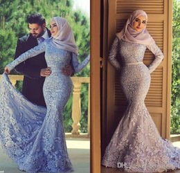 2015 Muslim Lace Mermaid Prom Dresses Applique Beads Long Sleeves High Neckline Evening Party Gowns Custom Made Free Shipping