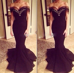 vestido de noite longo Formal Black Prom Dresses Long Chiffon Mermaid Evening Dress 2014 Off Shoulder Short Sleeved Real Picture Dress