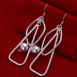 High Quality 925 Sterling Silver EARRINGS Beads Square Dangle Women's Earrings Fashion Silver Earrings jewelry Good Quality E072