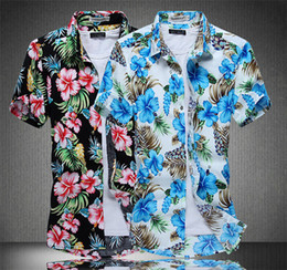 Wholesale- Striped Shirt Men Print Folwer Plus Size Men Shirt Hawaiian Shirt Floral Shirts Men Cheap Clothes China Short Sleeve lz701