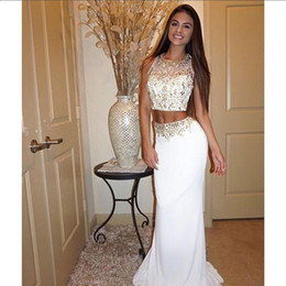 Sexy White Prom Dresses Two Pieces Sheath Jewel Neck Sleeveless Gold Beading Floor Length Chiffon 2016 Pageant Party Dresses Evening Gowns
