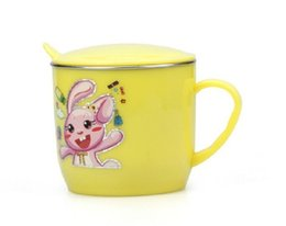 Wholesale BABY rabbit cup colors food grade stainless steel mug with cover hot insulation drop resistance Splittable F