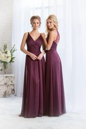 Cheap 2015 Bridesmaid Dresses Plum V Neck Chiffon Long Maid of Honor Dress Plus Size Chiffon China High Quality Wedding Hot Bridesmaid Gowns