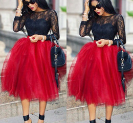 Unique Solid Saias Women Skirts Knee Length A Line All Colors 5 Layers Tutu Tulle Skirt Casual Dream Free Shipping