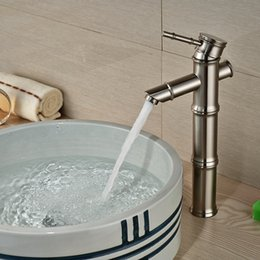 Wholesale And Retail Brushed Nickel Bathroom Faucet Bamboo Style Sinlge Handle Hole Vessel Sink Mixer Tap Deck Mounted