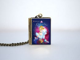 Wholesale 12pcs Story Book Necklace Cinderella For Book Locket Necklace Bronze tone