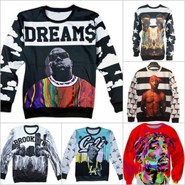 Wholesale-Alisister fashion men women's 3D sweatshirts America hiphop rock star Biggie Smalls character Tupac 2pac print pullover