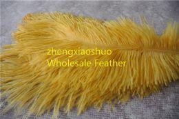wholesale 100pcs lot 14-16inch 35-40cm Gold Ostrich Feather Plumes for Wedding centerpiece christmas feather decoraction party decor