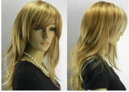 Stylish long Blonde mix Women wig  wigs