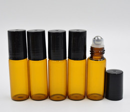 5ml ROLL ON GLASS BOTTLE Amber brown Fragrances ESSENTIAL OIL stainless steel Roller Ball Black Cap Wholesale By DHL Fedex Free Shipping