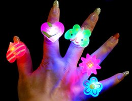 Wholesale 50pcs Birthday Party LED Glowing finger rings favors Cartoon Flashing Ring Light for Kids toys Events Party Favors TY643