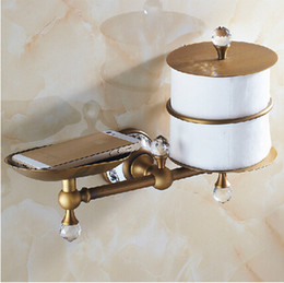 Wholesale Luxury Antique Brass Bathroom Brass and Marble Wall Mount Toilet Paper Holder Storage Shelf