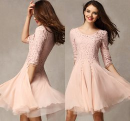Wholesale Lace Top Pink Homecoming dresses Sleeve Scoop Mini Chiffon Short Party gowns girls dress For Wedding Party gowns