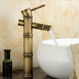 Wholesale antique brass bathroom faucet bamboo style tall basin sink mixer tap faucet classic waterfall single handle tap A F030