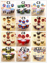 Wholesale Party Decorations Event Cupcake Wrappers Superman Batman Captain America CupCake Toppers Picks Kids Birthday Supplies Party Favors H0155