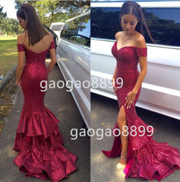 2019 New Fashion Hot Pink Burgundy Sequins Off-shoulder Mermaid Arabic Occasion Dresses With Slit Plus Size Trumpet Ruffles evening Dresses