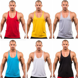 Tops sport homme sans manches en Ligne-Tank Top Golds Gym Stringer Men Bodybuilding Clothing and Fitness Hommes Chemise sans manches Sport Gilets Coton Singlets Muscle Tops DHL gratuit