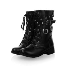 Womens Chic Lace Up Rivet Punk Motorcycle Military Combat Ankle Boots Plus Size
