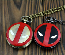 Wholesale DEADPOOL Superhero altman Pocket Watches cartoon film theme pendant necklace Sweater chain jewelry men women children party festive gift