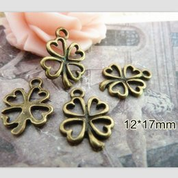 Wholesale 90 Tiny Four Leaf Clover Charms Lucky Charm mm Good Luck Jewelry Clover Drop Add On Charm Antique Bronze Tone