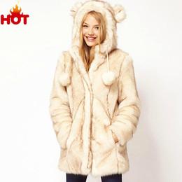 Wholesale-2015 New Autumn Winter Jacket Women Luxury Brand Ears Faux Fur Jackets Women Coat Fashion Outwear Winter White Outwear Plus Size