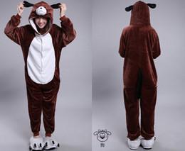 Wholesale 2015 Cosplay Winter Dog Kigurumi Pajama Flannel Pajamas Hooded Conjoined Sleepwear Costumes Adult Unisex Onesie Soft Sleepwear CC060508