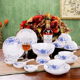 Wholesale Blue and white bone china dinnerware set blue and white porcelain bowl plate set tableware soup bowl gift