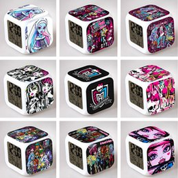Wholesale Cartoon Animated Monster High Alarm Clock LED Colorful Glowing Colors Change Digital Alarm Clocks Thermometer Party Gift DHL Factory Price