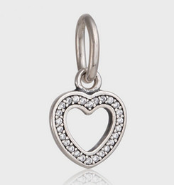 Symbol Of Love ,Clear CZ DIY Beads Solid 925 Silver Not Plated Fits Pandora Bracelet&Charms