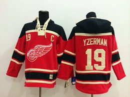 Factory Outlet, Detroit Red Wings Jersey Sweatshirts Ice Hockey Hoodies Accept Mix Orders #19 Steve Yzerman red and Beige