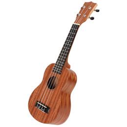 Promotion les brunes 21 pouces Ukulélé Soprano Uke Sapele 15 Fret quatre cordes Brown Instrument de musique pour les adultes et les enfants MIA_237