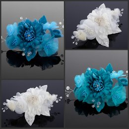 Handmade Flower Bridal Hair Accessories With Pearl Bead And Crystal Bead Wedding Accessories Party Prom Turquoise Or Ivory Fascinator