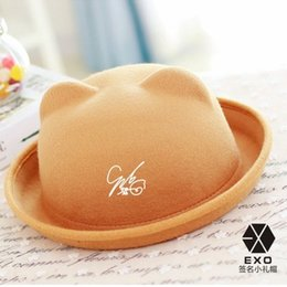 Wholesale exo kris baekhyun chanyeol chen do kai with signature Fedoras Roll Brim Dome bear Top Hat Caps