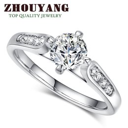 Top Quality ZYR064 Classic Wedding Ring 18K White Gold Plated Ring Austrian Crystals Full Sizes Wholesale